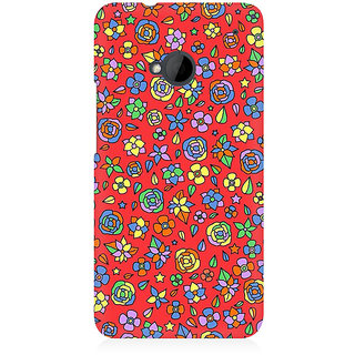 RAYITE Orange Floral Hub Premium Printed Mobile Back Case Cover For HTC One M7