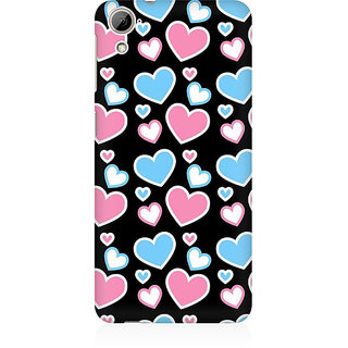 RAYITE Colourful Hearts Premium Printed Mobile Back Case Cover For HTC Desire 826