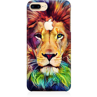 RAYITE Lion Abstract Premium Printed Mobile Back Case Cover For Apple IPhone 7 Plus Apple Logo Cut