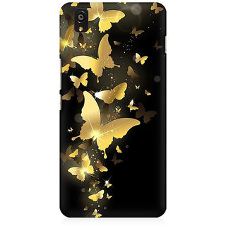 RAYITE Golden Butterflies Premium Printed Mobile Back Case Cover For OnePlus X
