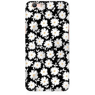 RAYITE White Daisy Pattern Premium Printed Mobile Back Case Cover For Oppo A59