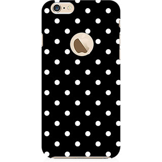 RAYITE Black Polka Dot Preum Printed Mobile Back Case Cover For   6-6s With  Hole