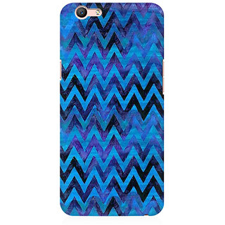 RAYITE Blue Chevron Pattern Premium Printed Mobile Back Case Cover For Oppo A59