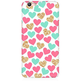 RAYITE Gold Pink Heart Pattern Premium Printed Mobile Back Case Cover For Oppo A59
