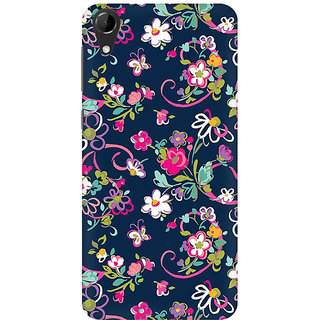 RAYITE Cute Flower And Butterfly Premium Printed Mobile Back Case Cover For HTC Desire 728