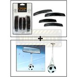I-Pop Simple Black Car Door Scratch Guard Protector Pack Of 4 + Hanging Football Car Air Freshener Perfume