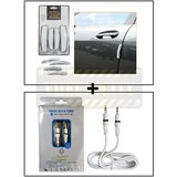 I-Pop Simple White Car Door Scratch Guard Protector Pack Of 4 + Alpha High Quality Aux Cable Male To Male
