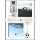 I-Pop Simple White Car Door Scratch Guard Protector Pack Of 4 + Hanging Football Car Air Freshener Perfume