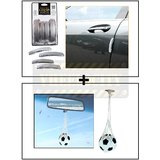 I-Pop Simple Silver Car Door Scratch Guard Protector Pack Of 4 + Hanging Football Car Air Freshener Perfume