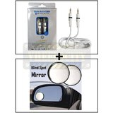 Alpha High Quality Aux Cable Male To Male + Car Blind Spot Convex Side Rear View Mirror Black Corner