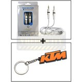 Alpha High Quality Aux Cable Male To Male + Ktm Keychain