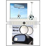 Hanging Football Car Air Freshener Perfume + Car Blind Spot Convex Side Rear View Mirror Black Corner
