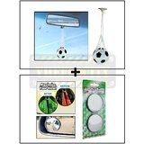 Hanging Football Car Air Freshener Perfume + Car Blind Spot Convex Rear View Mirror Chrome Corners