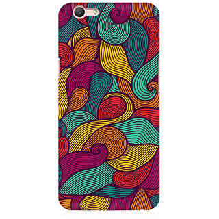 RAYITE Colourful Waves Premium Printed Mobile Back Case Cover For Oppo A59
