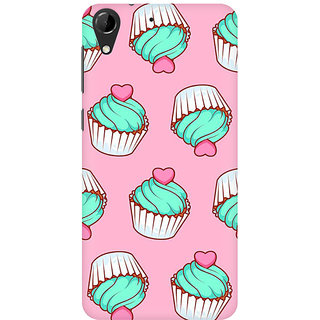 RAYITE Cup Cake With Cherry Premium Printed Mobile Back Case Cover For HTC Desire 728
