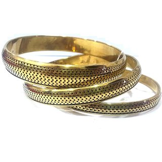 Handmade Set of 3 Brass Bangle Bracelets