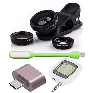 Combo of Universal Mobile Camera Lens Kit + OTG Adapter + USB LED Light and Selfie LED Flash Light