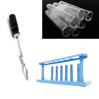 Test Tube Stand + Test Tubes 12mm X 100mm X 6nos + Test Tube Holder COMBO  for DIY Experiments