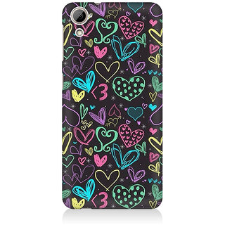 RAYITE Colourful Hearts Sketch Premium Printed Mobile Back Case Cover For HTC Desire 820