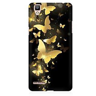 RAYITE Golden Butterflies Premium Printed Mobile Back Case Cover For Oppo F1 Plus