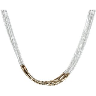 White colored necklace with gold brass beads