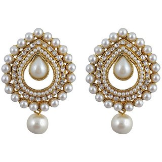 Jewels Capital Exclusive Golden White Earrings Set /S 1602