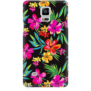 RAYITE Dark Watercolor Floral Premium Printed Mobile Back Case Cover For Samsung Note 4