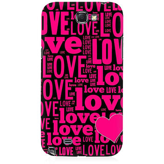 RAYITE Love Pattern Premium Printed Mobile Back Case Cover For Samsung Note 2