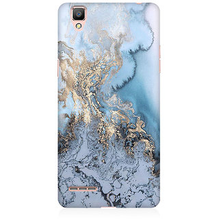RAYITE Gold Sea Marble Premium Printed Mobile Back Case Cover For Oppo F1