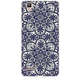 RAYITE Blue Mandala Premium Printed Mobile Back Case Cover For Oppo F1 Plus