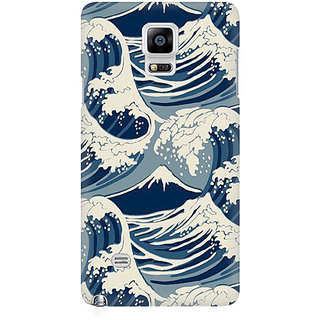 RAYITE Sea Waves Premium Printed Mobile Back Case Cover For Samsung Note 4