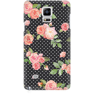 RAYITE Polka Dot Floral Premium Printed Mobile Back Case Cover For Samsung Note 4