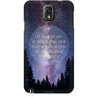 RAYITE Dream Big Premium Printed Mobile Back Case Cover For Samsung Note 3