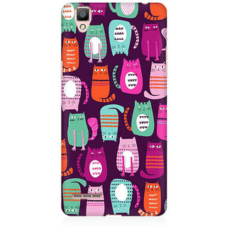 RAYITE Cat Pattern Premium Printed Mobile Back Case Cover For Oppo F1 Plus