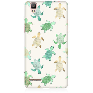 RAYITE Watercolor Turtle Premium Printed Mobile Back Case Cover For Oppo F1