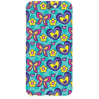 RAYITE Butterfly Heart Pattern Premium Printed Mobile Back Case Cover For HTC One A9