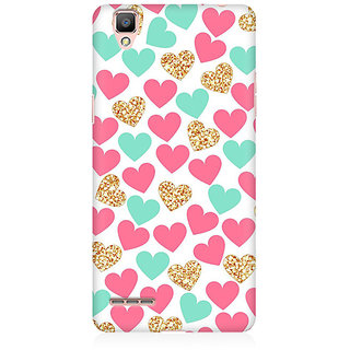 RAYITE Gold Pink Heart Pattern Premium Printed Mobile Back Case Cover For Oppo F1