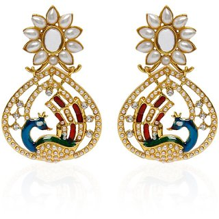 Jewels Capital Exclusive Golden Green White Multi Color Earrings Set /S 1622