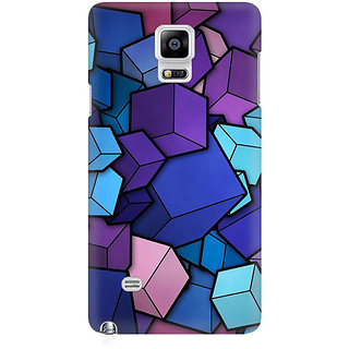 RAYITE 3D Cubes Premium Printed Mobile Back Case Cover For Samsung Note 4