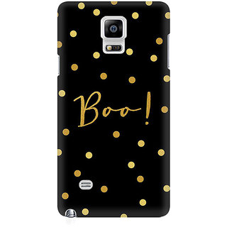 RAYITE Boo Gold Polka Dot Premium Printed Mobile Back Case Cover For Samsung Note 4