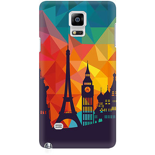 RAYITE Geometric City Premium Printed Mobile Back Case Cover For Samsung Note 4