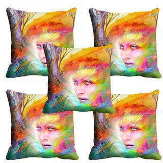 meSleep 3D Multi Colour Face Cushion Cover (12x12) - 12CD-92-183-S5