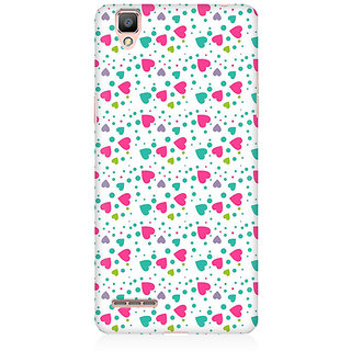 RAYITE Little Colourful Heart Premium Printed Mobile Back Case Cover For Oppo R9
