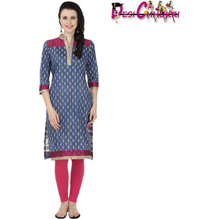 Desi Chhokri Dark Blue Chinese Collar Cotton Kurti