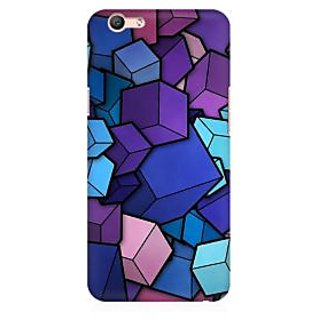 RAYITE 3D Cubes Premium Printed Mobile Back Case Cover For Oppo F1s