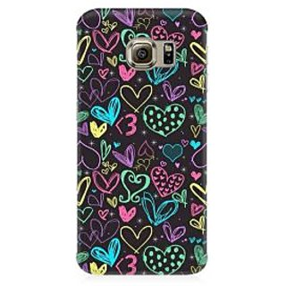 RAYITE Colourful Hearts Sketch Premium Printed Mobile Back Case Cover For Samsung Note 5 Edge