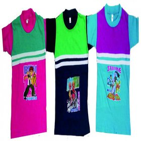 Kids Cotton Multicolour Half Sleeves Tess (Pack of - 3)