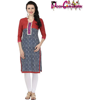 Desi Chhokri Maroon  Blue Chinese Collar Cotton Kurti