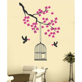 New Way Decals-Wall Sticker (7595) ''Purple Flowers And Love Birds''