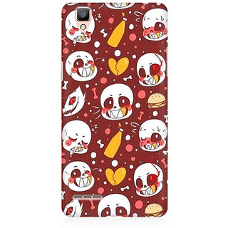 RAYITE Cute Skulls Premium Printed Mobile Back Case Cover For Oppo R9